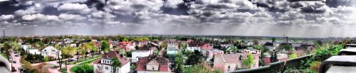 panorama miasta Poznań widok z 7 ptr na horyzoncie Nowe Miasto - Rataje