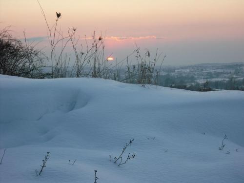 zimowy zachod słońca,widok z góry św.Marcina. #zima #ZachódSłońca