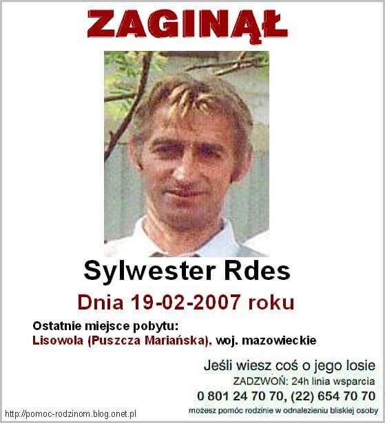 #Lisowola #mazowieckie #PuszczaMariańska #SylwesterRdes #Zaginął #PoszukiwanieOsóbZaginionych #MissingPeople #Aktualności #Zaginieni #Poszukiwani #ProsimyOPomoc #KtokolwiekWidział #KtokolwiekWie #AdnotacjaPolicyjna #Apel #Fiedziuszko #ITAKA