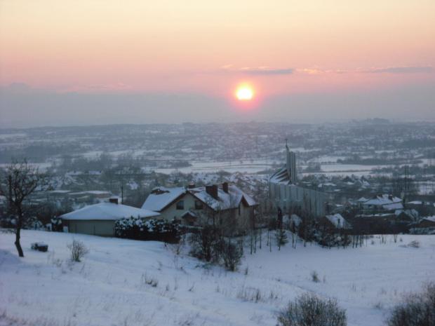 zimowy zachód słońca #zima #ZachódSłońca