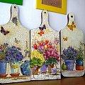trzy kwiatowe deski #dekupage #dekupaż #deqoupage #spękania #lawenda #deska
