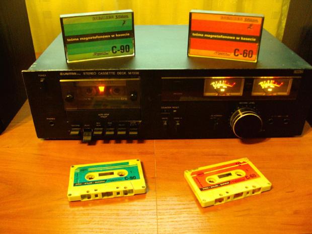 """Unitra ZRK Stereo Cassette Deck M7008 Kasety magnetofonowe """"Taśmy magnetofonowe w kasecie"""" Stilon Zestaw głośnikowy Unitra Tonsil Space '86"""