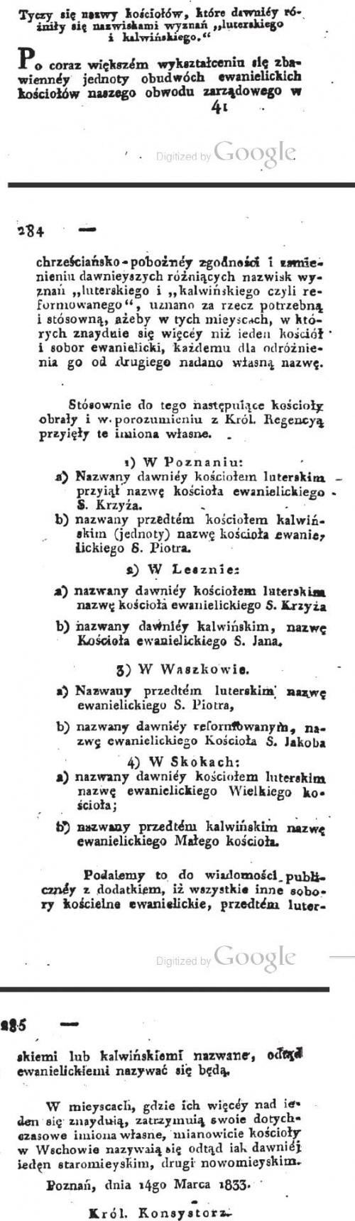 1833 Nowe nazwy kościołów wyznania Kalwińskiego i Luteranskiego