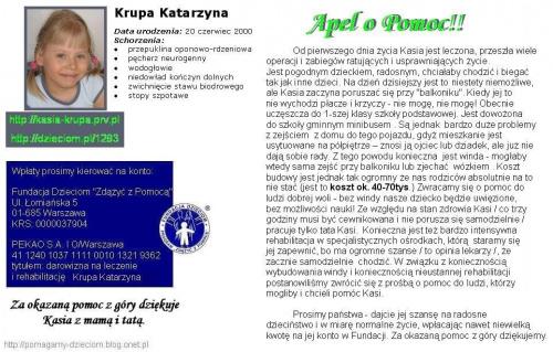 http://pomagamy.dbv.pl/ #KatarzynaKrupa #pomagamydbvpl #StronaInformacyjna #ApelOPomoc #LudzkaTragedia #PomocPotrzebującym #PomocDziecku #pomoc #PomocCharytatywna #rehabilitacja #turnusy #wolontariat #WalkaOZdrowie #PomocnaDłoń #sponsoring #SOS