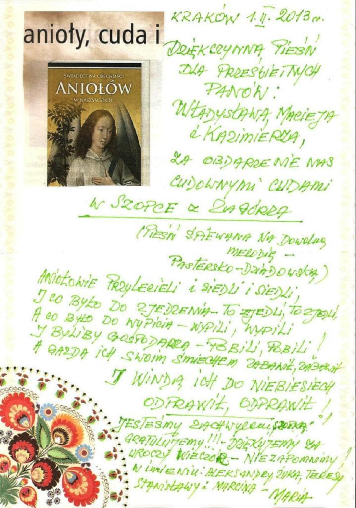 """List chwalebno-dziękczynny za obejrzenie """"Jasełek z Zagórza"""""""