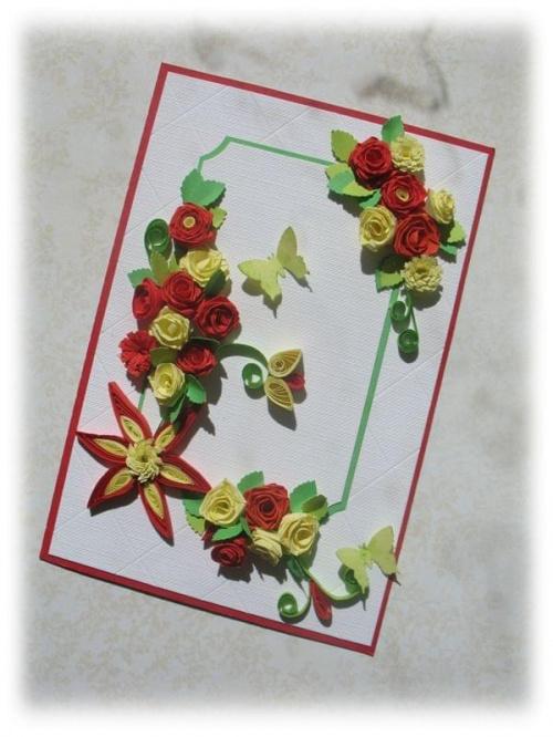 #Kartka #życzenia #kwiaty #quilling