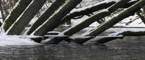 Rzeka Brda - 25.02.2011 - zdjęcie z samotnego spływu kajakowego. #Brda #lód