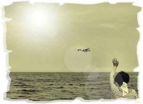 ...jak ze starej fotografii... #przeróbki #inaczej #samolot #słońce #światło #morze #widok #Irena
