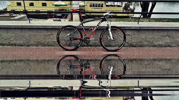 Rower w odbiciu #puławy #rower